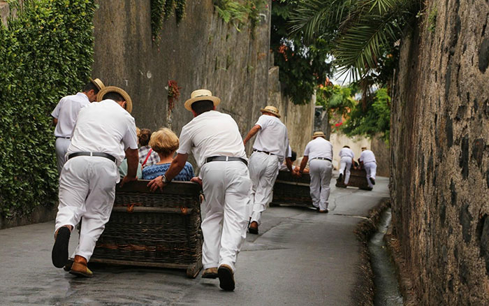 TRAVEL IN A WOODEN BASKET CAR, MADEIRA